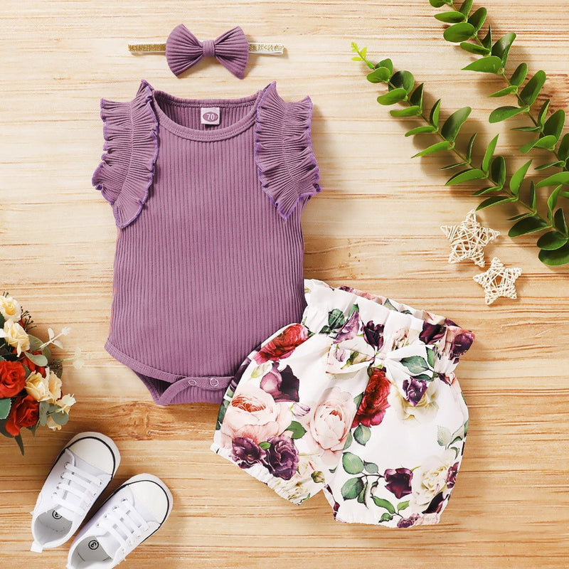 3-PCS Baby Girl's Cute Flower Printed Outfit with Headband