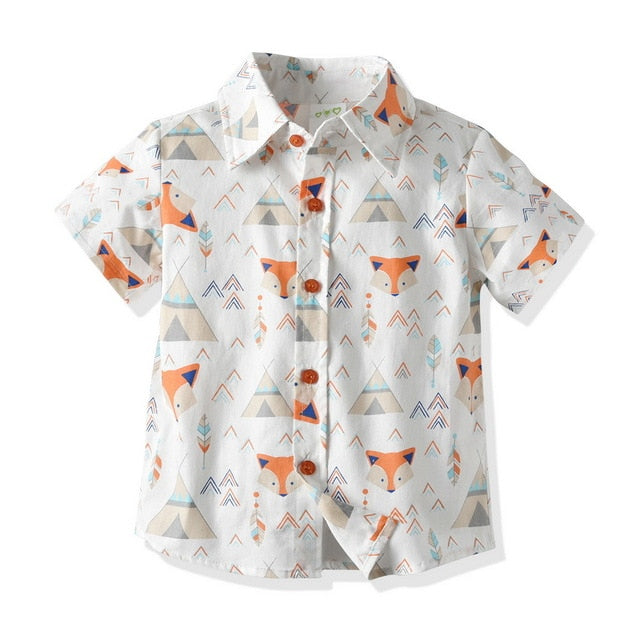 Baby Boy's Short Sleeve Animal Fox Printed Button Down Shirt