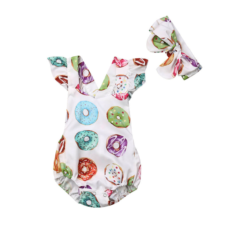 Baby Girls' Donut One Piece Romper With Headband