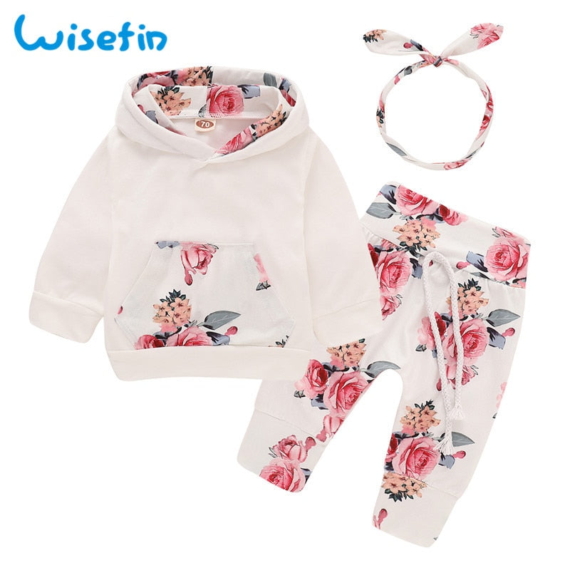 3-PCS Baby Girl's Sweatshirt Outfit With Matching Headband