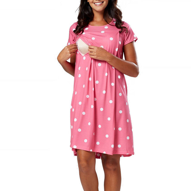 Summer Polka Dot Heart Printed Maternity Dress