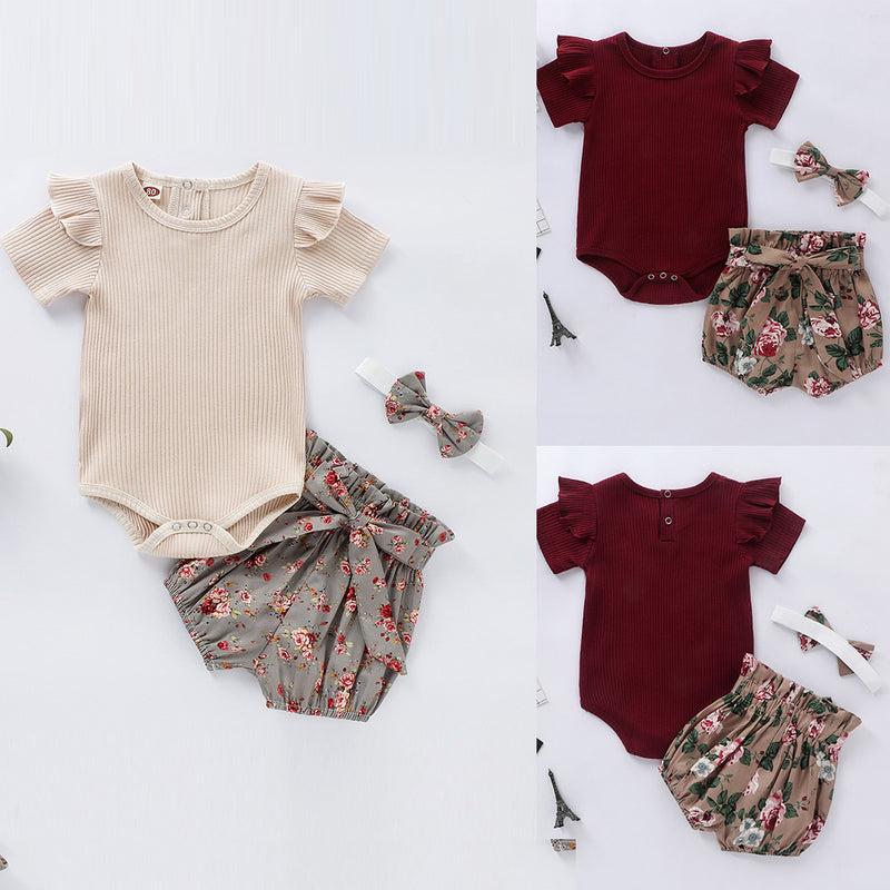 3-PCS Summer Short Sleeve Ribbed Floral Romper with Headband