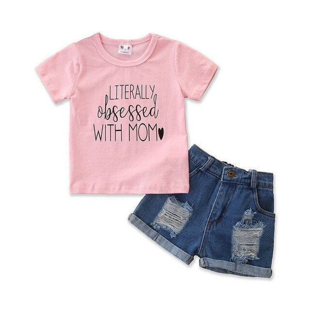 Cute Summer Letter Printed T-Shirt + Denim Shorts Set