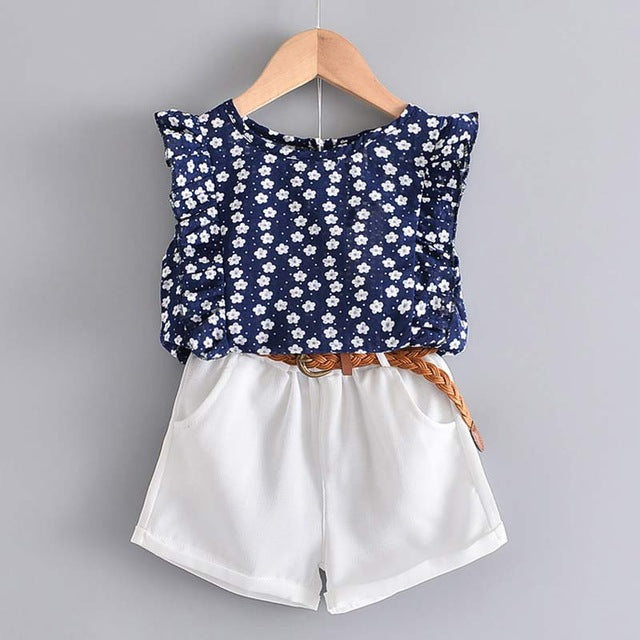 Navy Blue Floral Shirt With White Shorts, 2-pcs Set