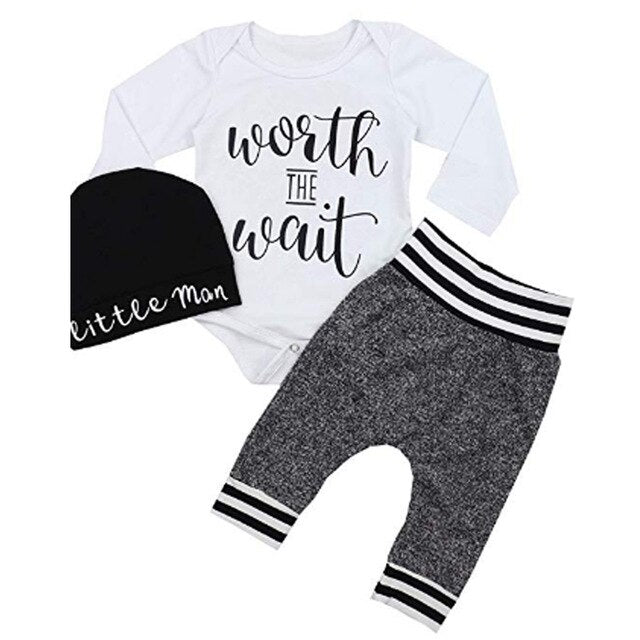 Baby Boy Little Brother Outfit Set With Bodysuit, Pants & Hat