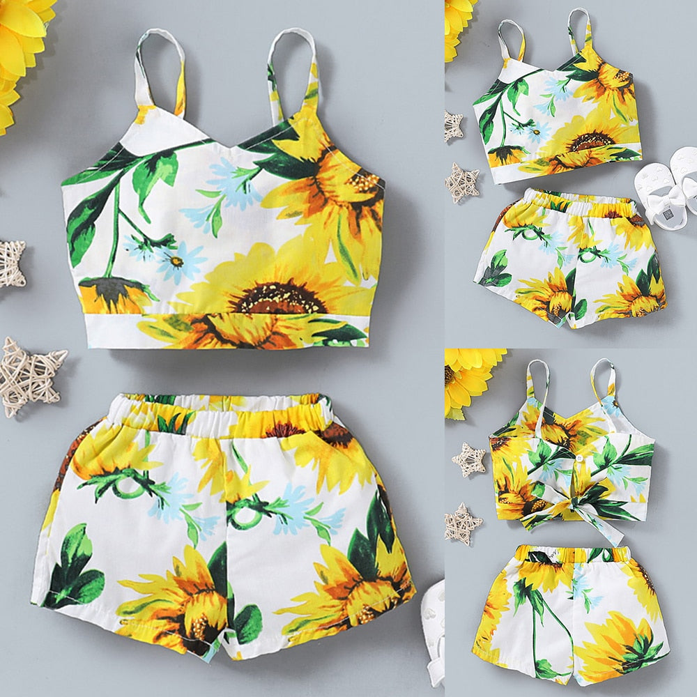 2-PCS Baby Girl's Floral V Neck Sleeveless Top with Shorts