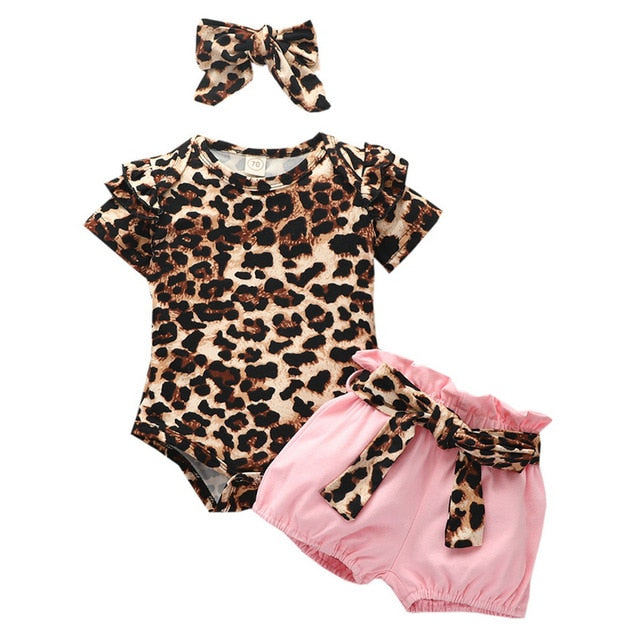 Baby Girl's Summer Leopard Print Outfit Set