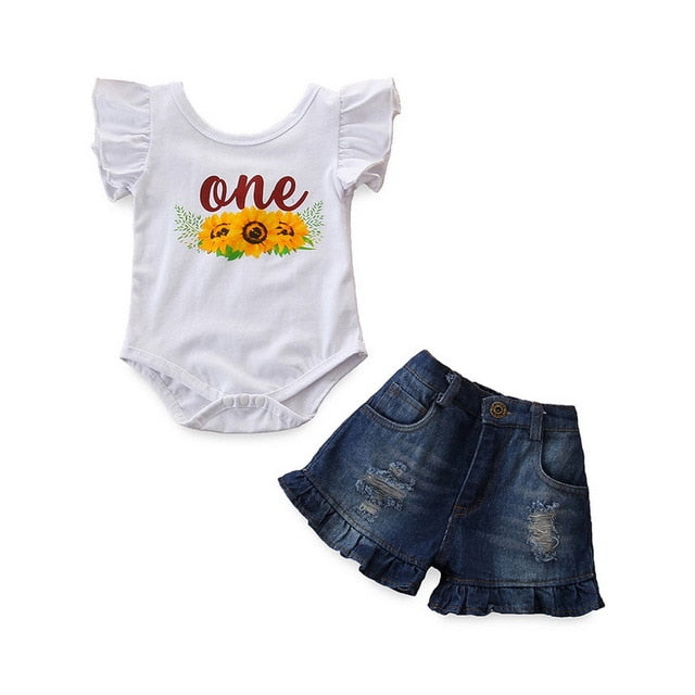 Baby Girl's Ruffle Sleeve 'One' Bodysuit and Jean Shorts Outfit