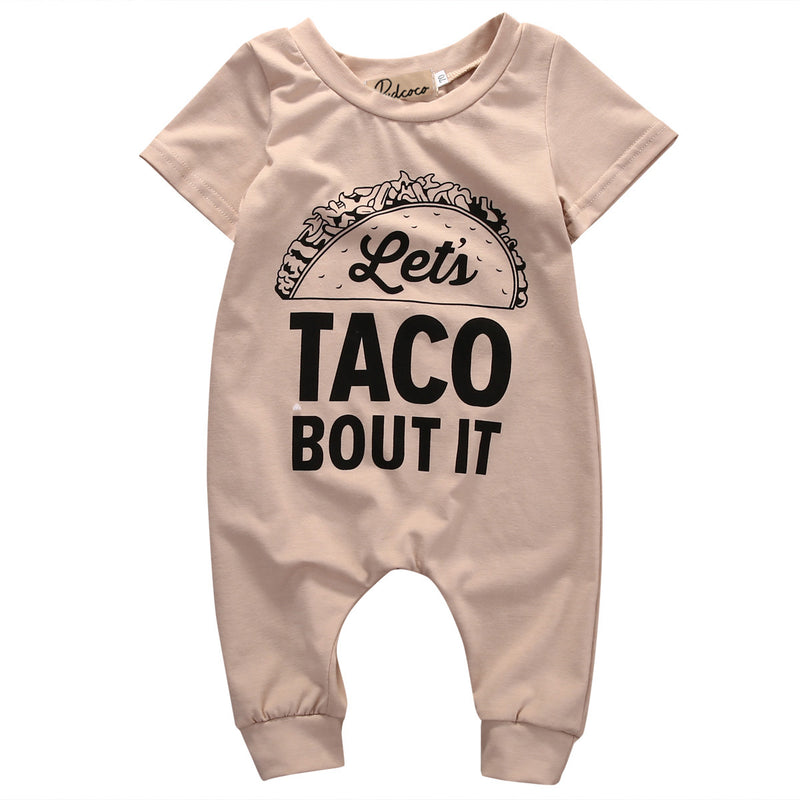 Short-Sleeves Let's Taco Bout It Romper For Baby