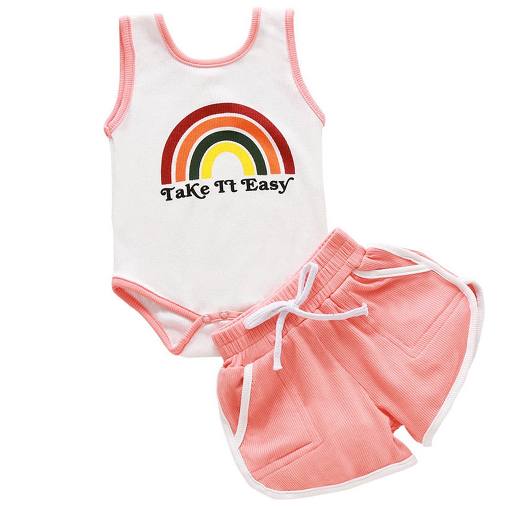 Baby Girl's Rainbow Printed Sleeveless Round Neck Top And Shorts