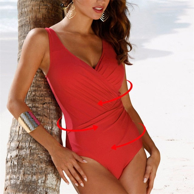 Women's One Piece Retro V-Neck Swimsuit