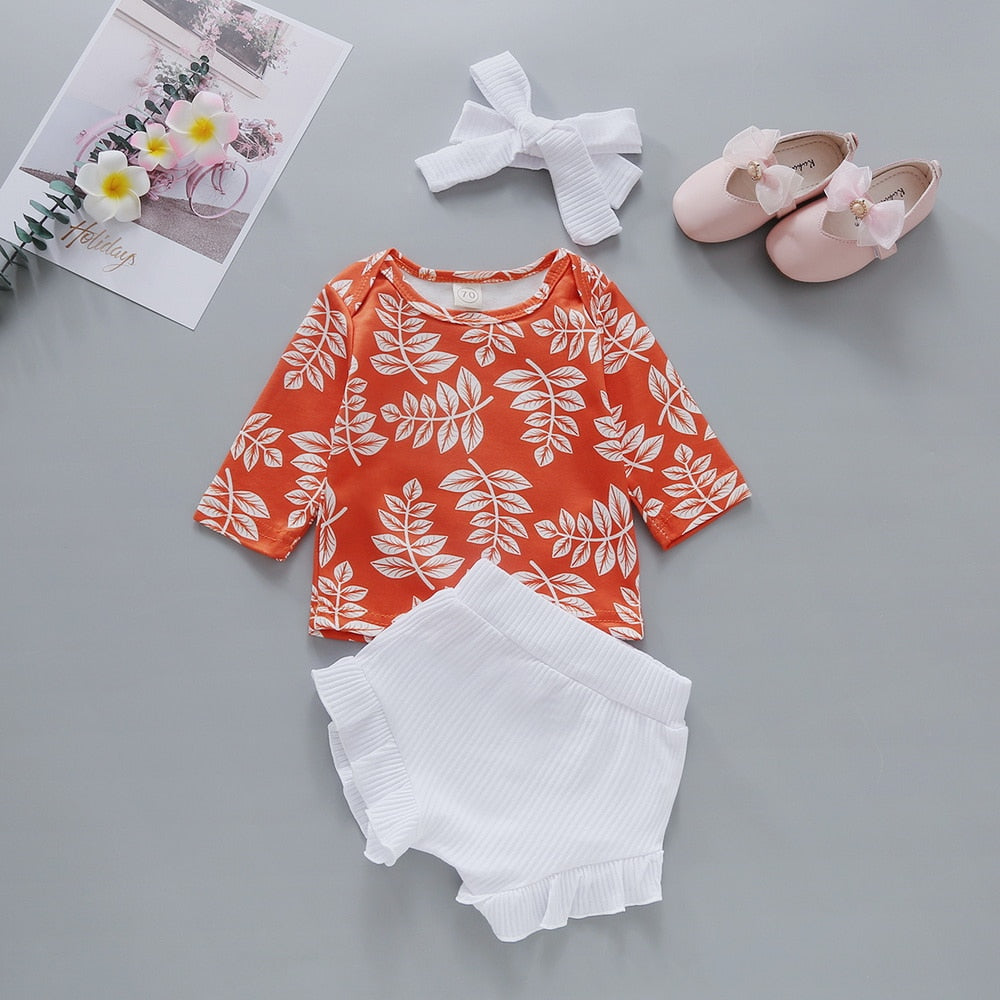 Baby Girl's Summer Floral Printed Shirt With Shorts and Headband
