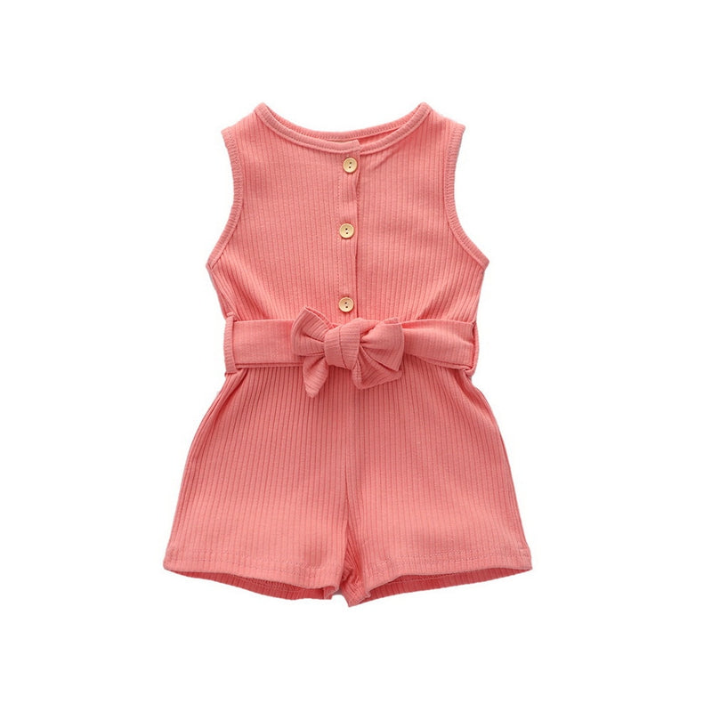 Summer Sleeveless Button Baby Rompers With Belt
