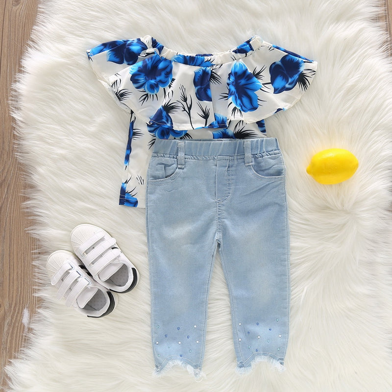 1-6 Yrs. 2-PCS Summer Blue Ruffle Shirt With Jeans Outfit
