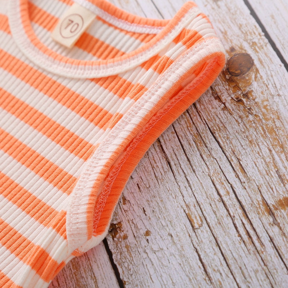 Knitted Summer Baby Girl's Sleeveless Romper