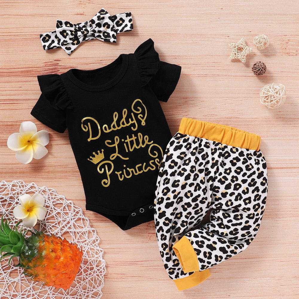 3-PCS Baby Girl's 'Daddy's Little Princess' Printed Outfit With Headband