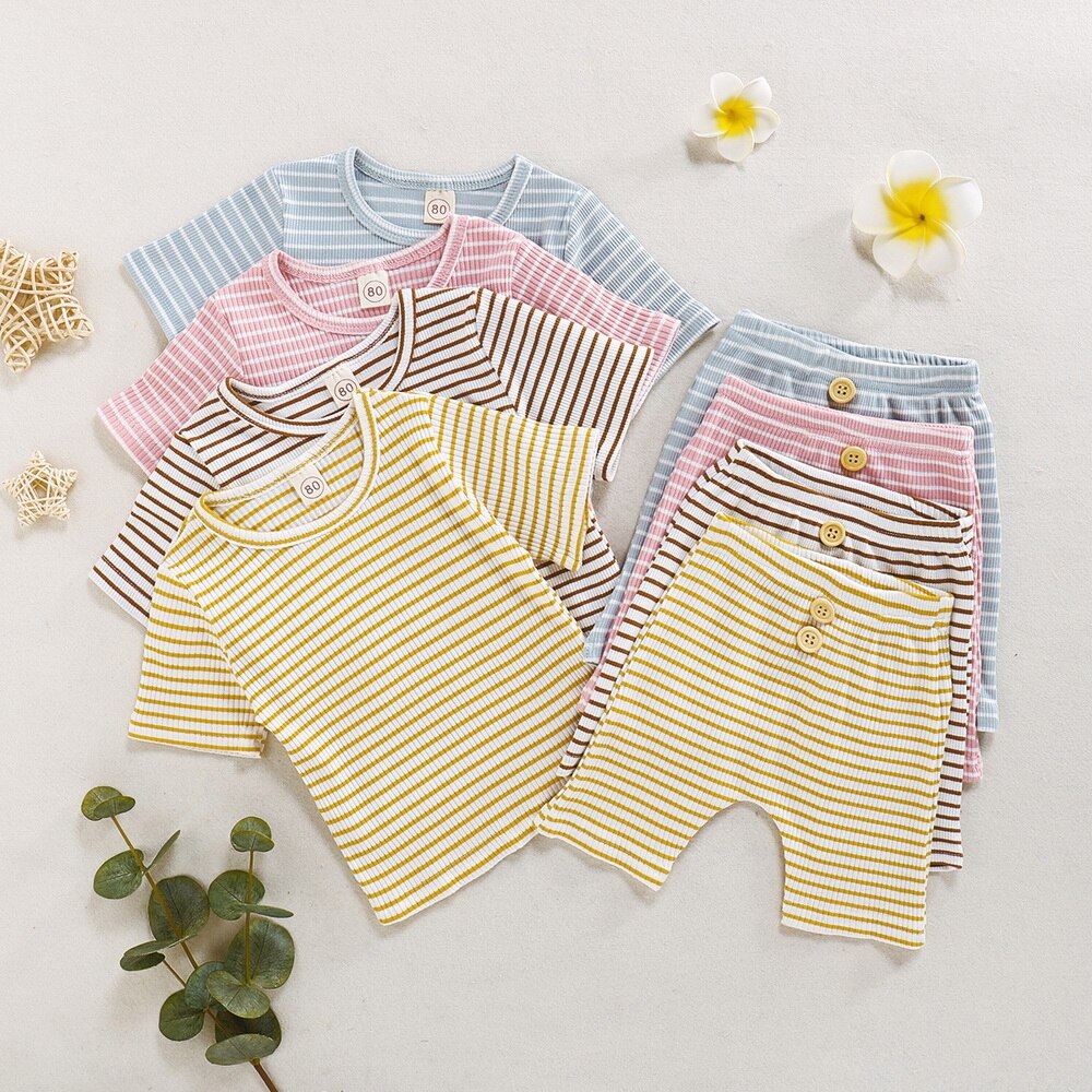 2-PCS Summer Boys/Girls Striped T-shirt+Pants