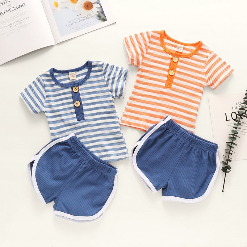 2-PCS Boys' Summer Striped Short Sleeve Button Outfit