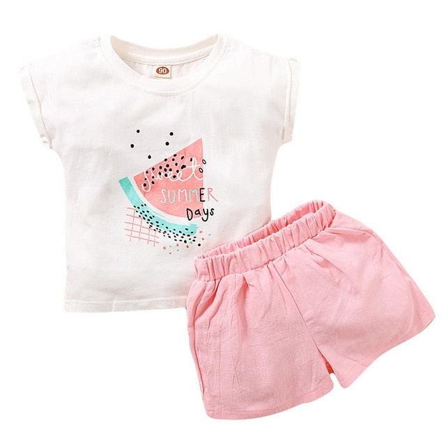 2-PCS Summer Watermelon White T-Shirt+Pink Shorts Outfit