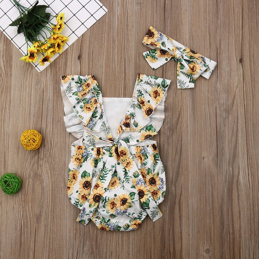Sunflower Printed Sleeveless Baby Girl Romper With Headband