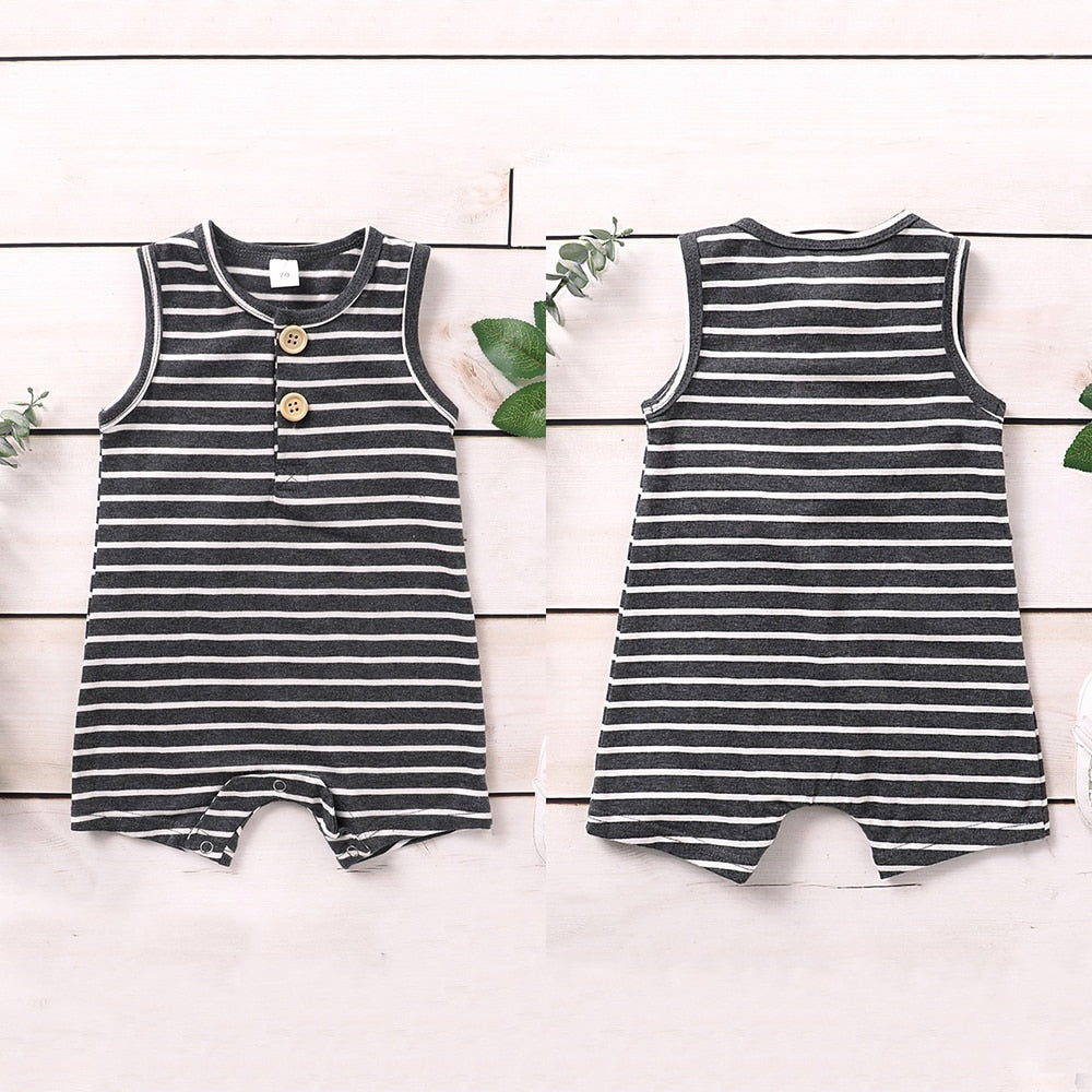 Baby Boy's Summer Sleeveless Cotton Striped Button Jumpsuit