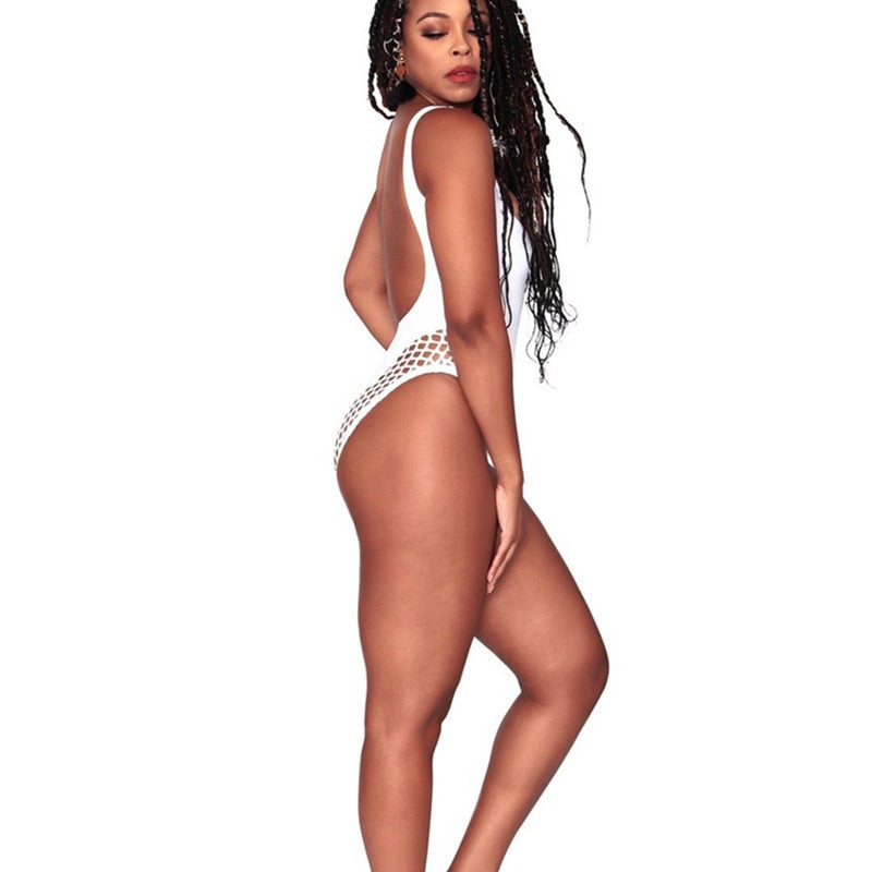 Women's Plus Size White/Black One Piece Backless Swimsuit