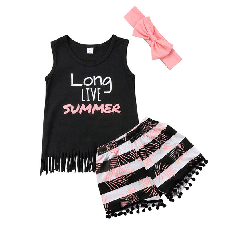 2- PCS Summer Baby Girl's 'Long Live Summer' Outfit Set
