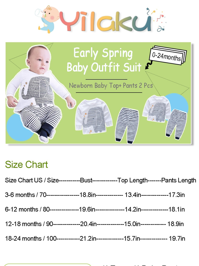 Baby Boy's Elephant Print Long Sleeve Tops+Striped Pants