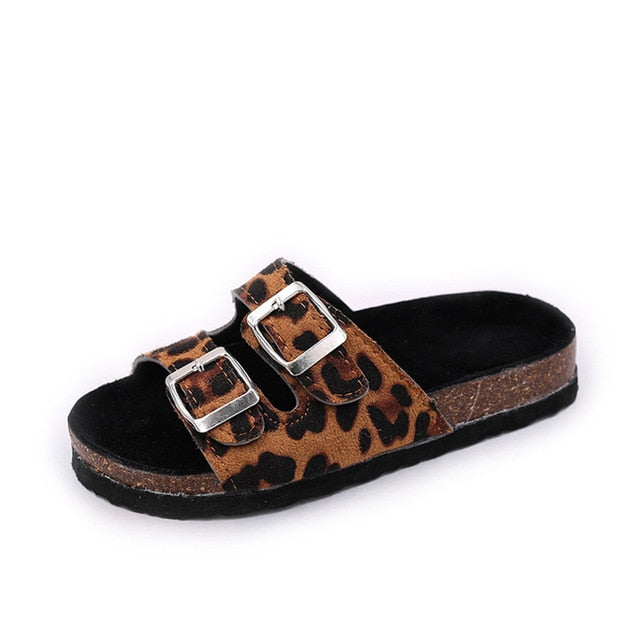 Girl's Leopard Printed Double Buckle Band Sandals