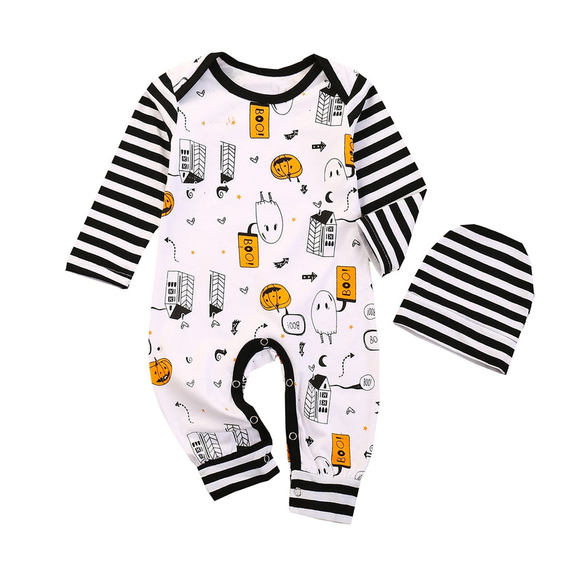 0-24M Halloween Pumpkin Print Striped jumpsuit & Hat