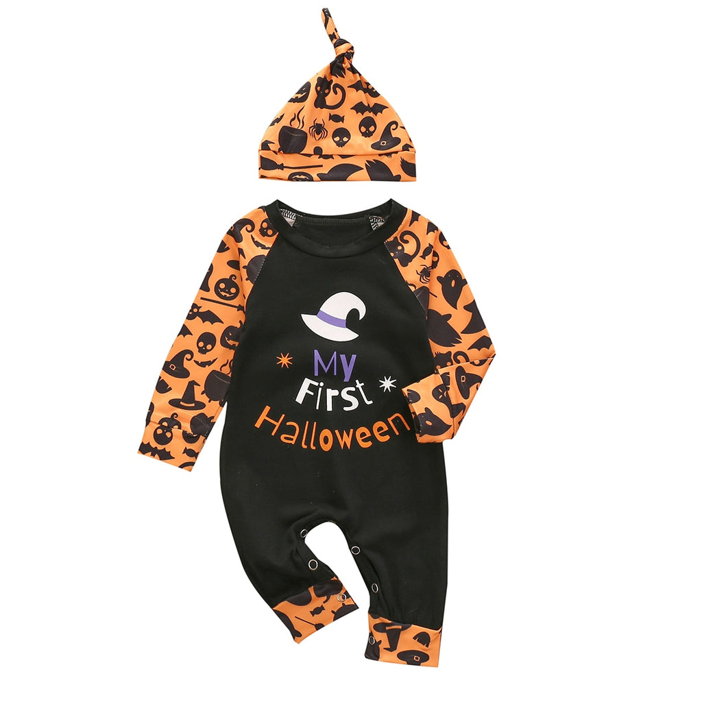 Halloween Baby's  Long Sleeve 'My First Halloween' Letter Print Jumpsuit & Hat