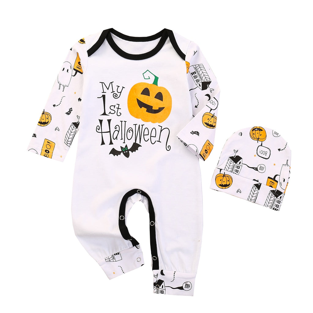 Baby's Halloween Long Sleeve Pumpkin 'My First Halloween' Jumpsuit & Matching Hat