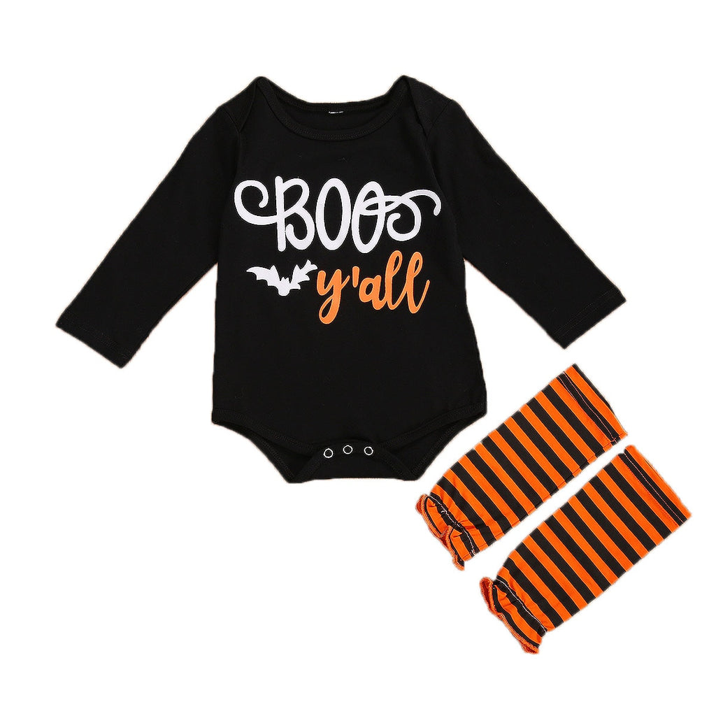 Halloween Newborn Boys Girls Outfits Long Sleeve Romper+Striped Socks Round Neck Letter Print Infant Clothes Set