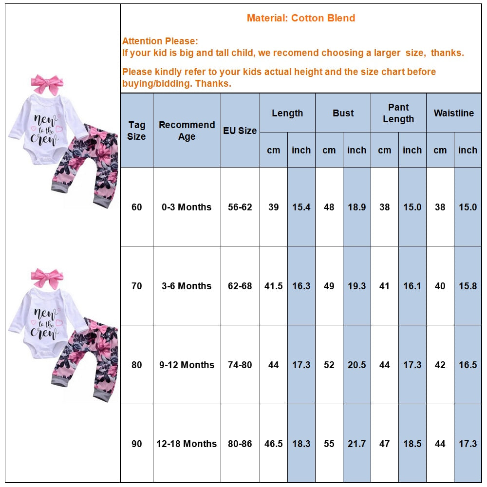 3-PCS Baby Girl's 'New To The Crew' Long Sleeve Floral Outfit Set