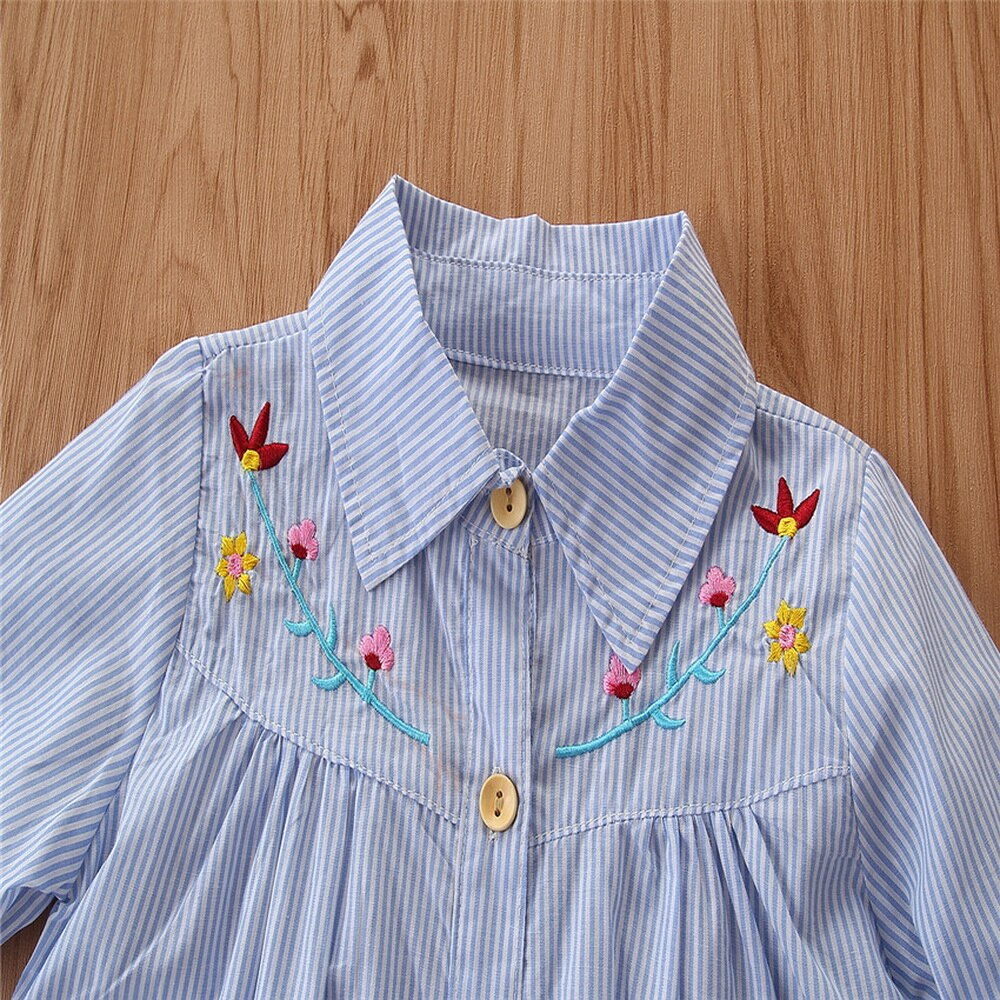 2-PCS Toddler Girl's Stripe Floral Embroidered Shirt And Ripped Jeans Outfit