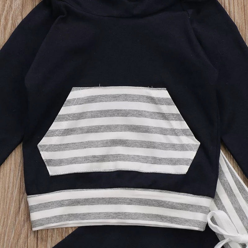 Baby Boy's 2-PCS Striped Hooded Sweatshirt And Long Pants Outfit