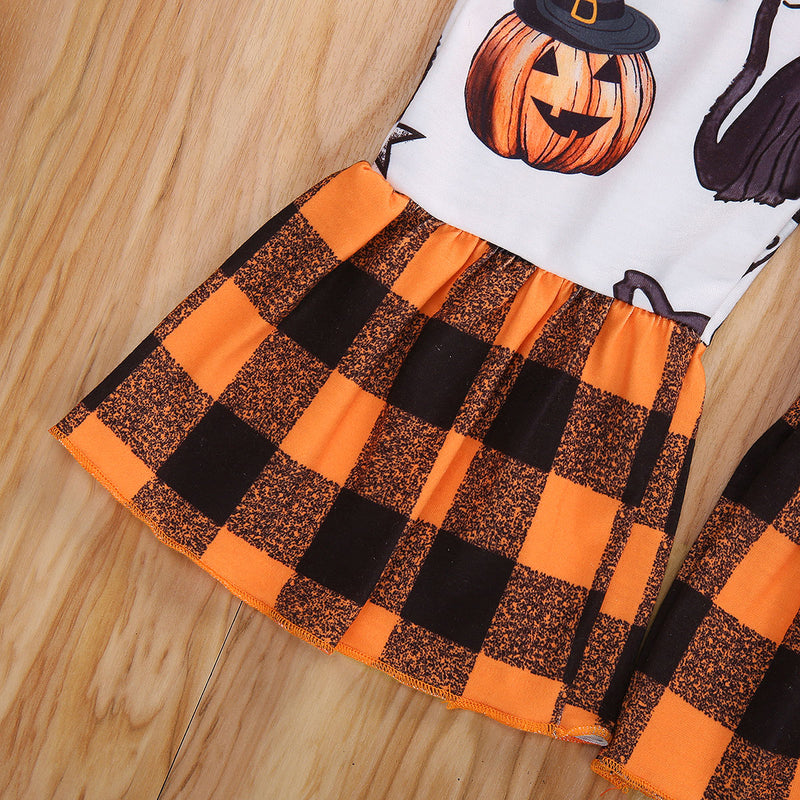 3-PCS Baby Girl's Halloween 'Spooky Little Babe' Printed Shirt & Plaid Flared Pants With Headband