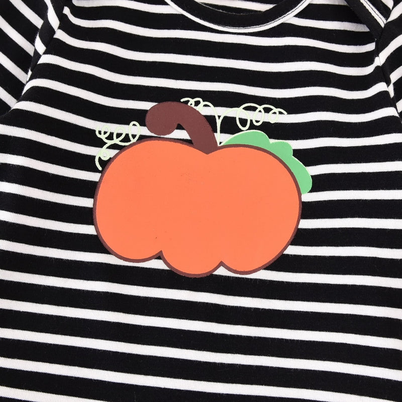Baby Girl's Pumpkin Striped Halloween Onesie+Skirt+Headband Outfit