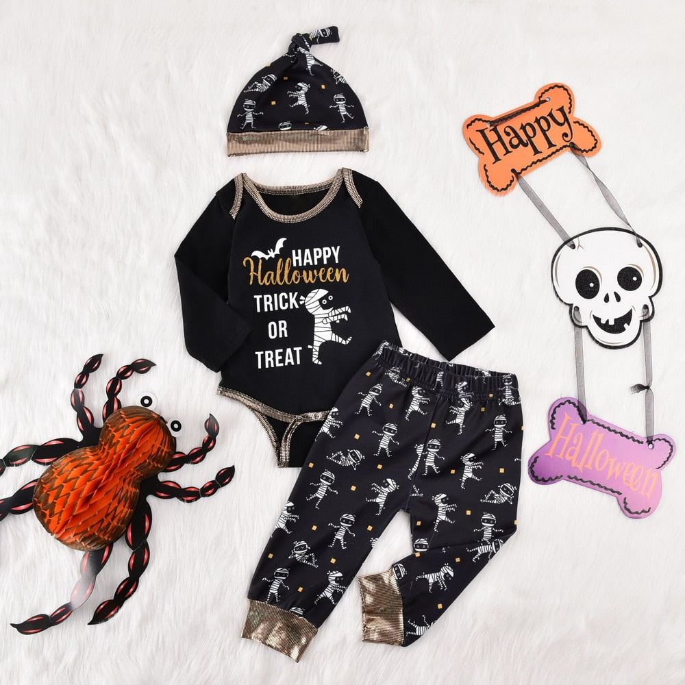 3-PCS Baby's Halloween Cartoon Print Onesie+Pants+Hat Long Sleeve Outfit