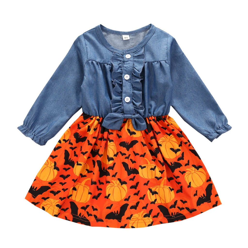 Girl's Halloween Denim Long Sleeve Pleated Bow Dress
