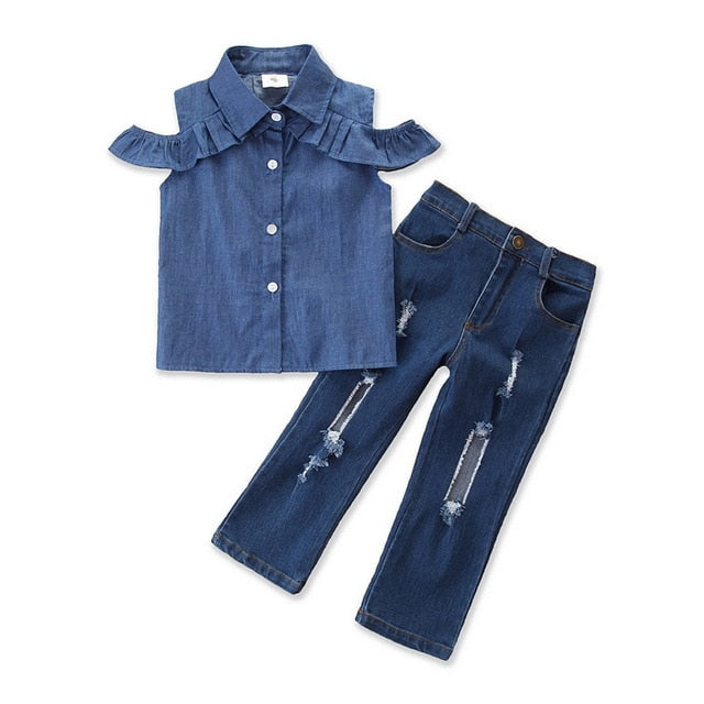 Girl's 2-PCS Denim Shirt & Hole Jeans Outfit