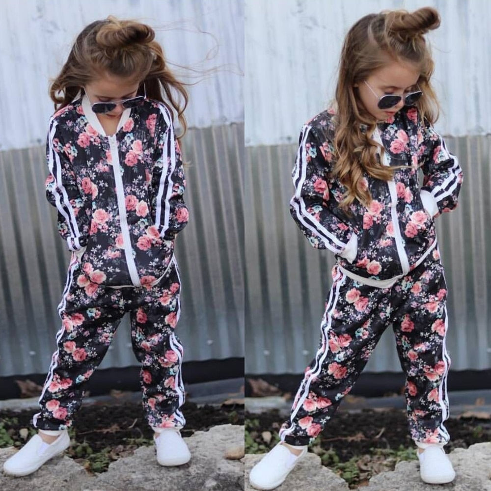 Girl's 2-PCS Floral Track Suit