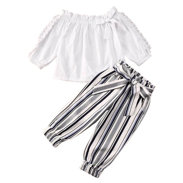 2-PCS Kid's Long Sleeve Off Shoulder Top & Stripe Pants Outfit