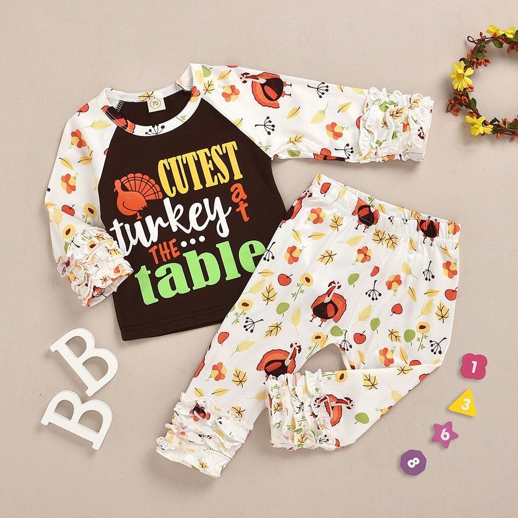 2-PCS Baby Girl's 'Cutest Turkey at the Table' Printed Outfit Set