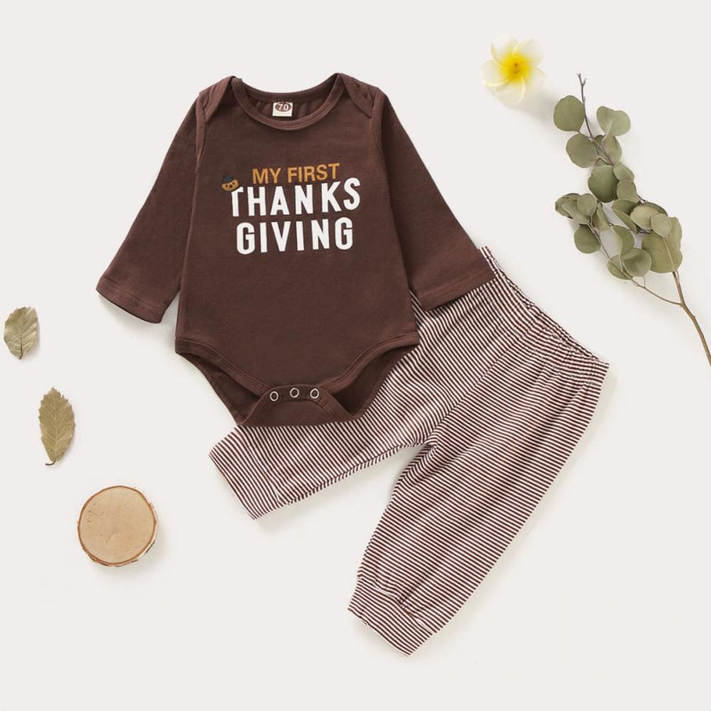 2-PCS Baby's 'My First Thanksgiving' Printed Outfit Set