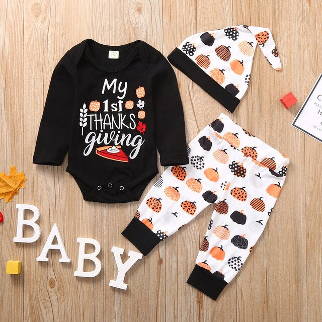 Baby's 3-PCS Thanksgiving Day Pumpkin Outfit Set