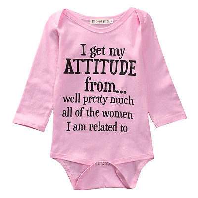 Baby Girl's Long Sleeve Pink Funny Onesie