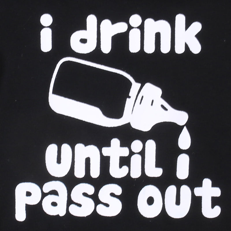 Baby's 'I Drink Until I Pass Out' Printed Short Sleeve Cotton Onesie