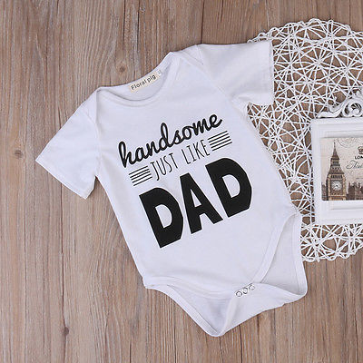 Baby Boy's 'Handsome Just Like Dad' Cotton Printed Onesie