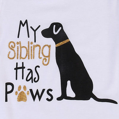 Baby's Short Sleeve 'My Sibling Has Paws' Cotton Onesie